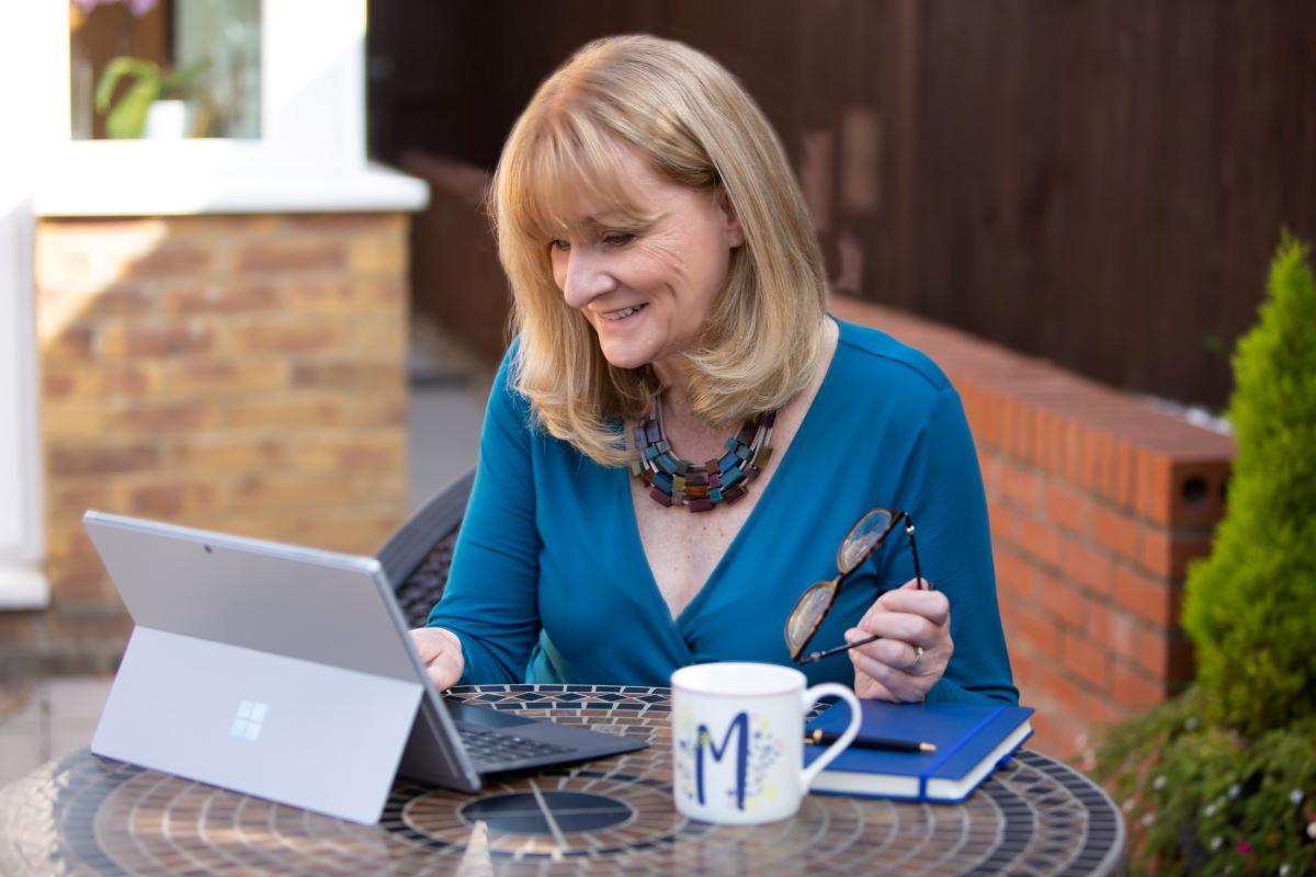 Michaela working in the garden